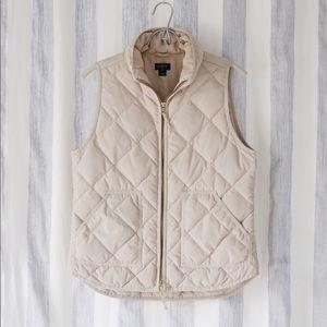 J. Crew Quilted Puffer Vest in Cream